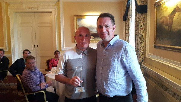 Competition winner, Andy Clarke, Egencia pictures with Grant Smith of Amadeus